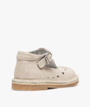 Chaussures de marche bébé fille avec dessus cuir à pailettes vue4 - GEMO(BEBE DEBT) - GEMO