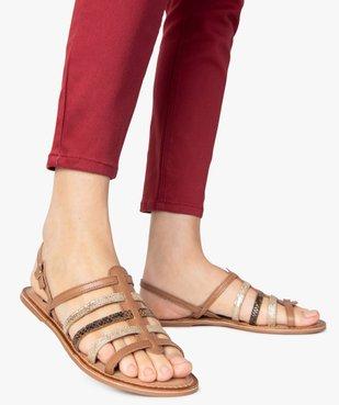 Sandales femme à talon plat et brides multiples en cuir vue1 - GEMO (CASUAL) - GEMO