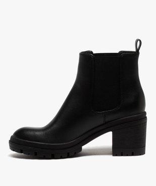Boots femme unis à talon carré et semelle crantée vue3 - GEMO(URBAIN) - GEMO