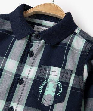 Chemise bébé garçon à manches longues et carreaux à col polo - Lulu Castagnette vue2 - LULUCASTAGNETTE - Nikesneakers