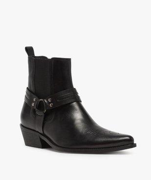 Boots homme unis zippés style santiags vue2 - GEMO(URBAIN) - GEMO