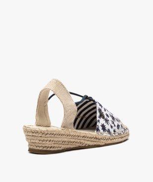 Sandales femme en toile à talon compensé – Terre de Marins vue4 - TERRE DE MARINS - GEMO