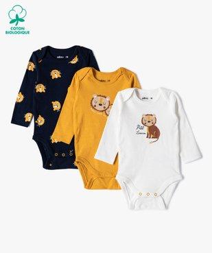 Body bébé garçon manches longues motifs lionceaux (lot de 3) vue1 - GEMO(BB COUCHE) - GEMO