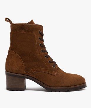 Boots femme à talon carré dessus cuir retourné uni vue1 - GEMO(URBAIN) - GEMO