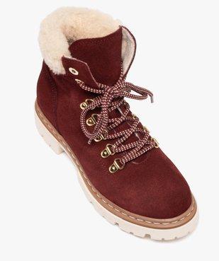 Boots fourrées femme dessus cuir à col sherpa vue5 - GEMO (CASUAL) - GEMO