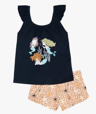 Pyjashort fille à bretelles et motif sirènes vue1 - GEMO (ENFANT) - GEMO