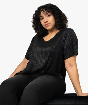 Tee-shirt femme grande taille plissé vue1 - Nikesneakers (G TAILLE) - Nikesneakers