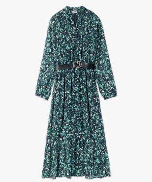 Robe femme longue en voile imprimé et grosse ceinture vue4 - GEMO(FEMME PAP) - GEMO