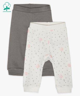 Pantalon bébé fille en maille avec finitions bord-côte (lot de 2) vue1 - GEMO C4G BEBE - GEMO
