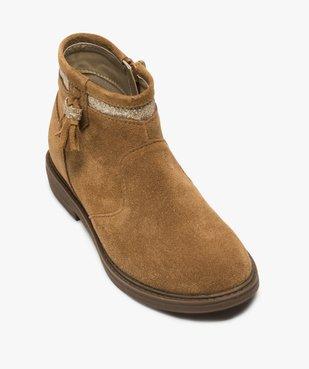 Boots fille zippés dessus cuir pompons et bordure pailletés vue5 - Nikesneakers (ENFANT) - Nikesneakers