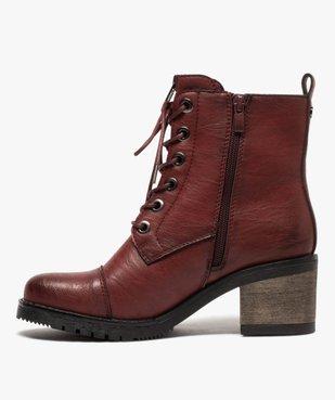 Boots femme unies à talon carré et zip décoratif vue3 - GEMO(URBAIN) - GEMO