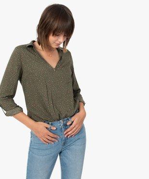Blouse femme fluide à motifs et col v à boutons vue1 - GEMO(FEMME PAP) - GEMO