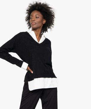 Pull femme effet 2 en 1 avec col chemise vue2 - GEMO(FEMME PAP) - GEMO