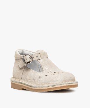 Chaussures de marche bébé fille avec dessus cuir à pailettes vue2 - GEMO(BEBE DEBT) - GEMO