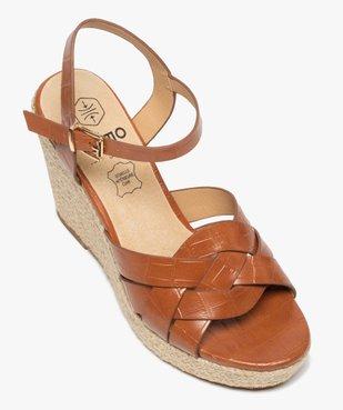 Sandales femme à talon compensé dessus imitation croco vue5 - GEMO(URBAIN) - GEMO