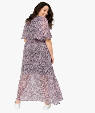 Robe femme imprimée longue avec taille smockée vue3 - GEMO (G TAILLE) - GEMO
