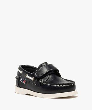 Chaussures bateau garçon dessus cuir à fermeture scratch vue2 - GEMO (ENFANT) - GEMO
