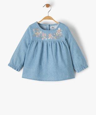 Blouse bébé fille en chambray avec motifs brodés vue1 - GEMO(BEBE DEBT) - GEMO