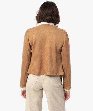 Blouson femme en suédine coupe asymétrique  vue3 - GEMO(FEMME PAP) - GEMO