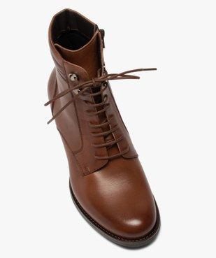 Boots femme unis à talon dessus cuir à lacets vue5 - GEMO(URBAIN) - GEMO