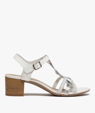 Sandales femme à talon carré et fines brides en cuir vue1 - GEMO(URBAIN) - GEMO