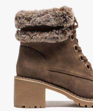 Boots femme à col duveteux, talon carré et semelle crantée vue6 - GEMO(URBAIN) - GEMO