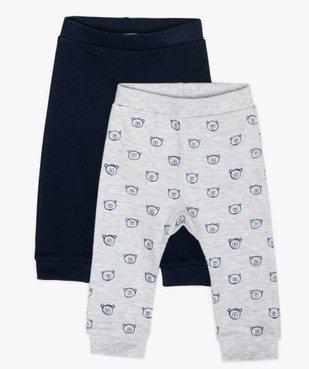 Pantalon bébé garçon en maille avec finitions bord-côte (lot de 2) vue1 - GEMO C4G BEBE - GEMO