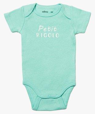 Body bébé garçon à manches courtes 100% coton biologique (lot de 3) vue2 - GEMO C4G BEBE - GEMO