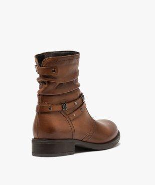 Boots fille unies dessus cuir drapé et brides fantaisie vue4 - GEMO (ENFANT) - GEMO