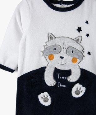 Pyjama bébé en velours avec motif petit loup  vue2 - GEMO(BB COUCHE) - GEMO