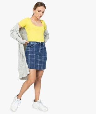 Tee-shirt femme ajusté en maille côtelée vue5 - FOLLOW ME - GEMO