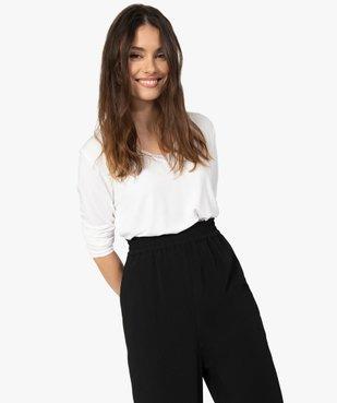 Tee-shirt femme à manches longues et col V en dentelle vue2 - GEMO(FEMME PAP) - GEMO
