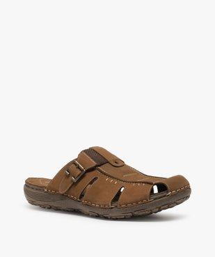Sandales homme mules à semelle intérieure cuir - Roadsign vue2 - ROADSIGN - GEMO