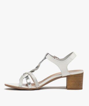 Sandales femme à talon carré et fines brides en cuir vue3 - GEMO(URBAIN) - GEMO