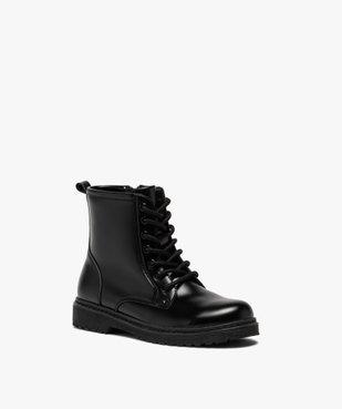 Boots fille unis à semelle crantée fermeture lacets et zip vue2 - GEMO (ENFANT) - GEMO
