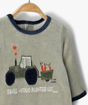 Pyjama bébé garçon en velours avec motif tracteur vue2 - GEMO(BB COUCHE) - GEMO