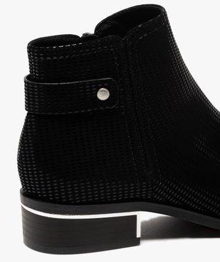 Boots femme à talon plat dessus en suédine à motifs vernis vue6 - GEMO (CASUAL) - GEMO