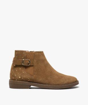 Boots fille style chelsea dessus cuir avec motif étoiles vue1 - GEMO (ENFANT) - GEMO