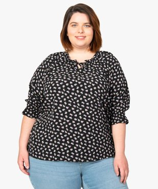 Blouse femme imprimée à manches ¾  vue1 - Nikesneakers (G TAILLE) - Nikesneakers