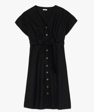 Robe femme boutonnée en lin/viscose vue4 - GEMO(FEMME PAP) - GEMO