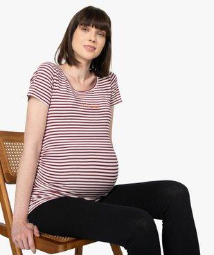Tee-shirt de grossesse imprimé avec grand col rond vue1 - GEMO (MATER) - GEMO
