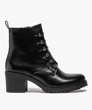Boots femme à talon carré avec lacets chaînettes vue1 - GEMO(URBAIN) - GEMO