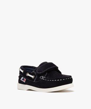 Chaussures bateau garçon dessus cuir à fermeture scratch Dessus cuir retourné uni vue2 - Nikesneakers (ENFANT) - Nikesneakers