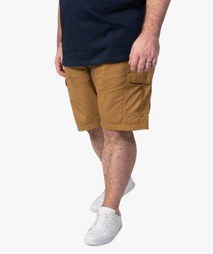 Bermuda homme en toile unie avec poche à rabat vue1 - GEMO (G TAILLE) - GEMO
