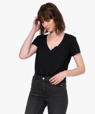 Tee-shirt femme à manches courtes et grand col V vue1 - GEMO(FEMME PAP) - GEMO