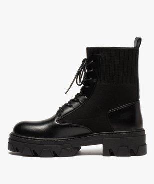 Boots femme unies à semelle crantée et col en maille vue3 - GEMO (CASUAL) - GEMO