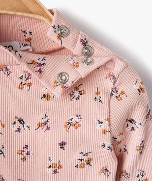 Tee-shirt bébé fille en maille côtelée à motifs fleuris vue2 - GEMO C4G BEBE - GEMO