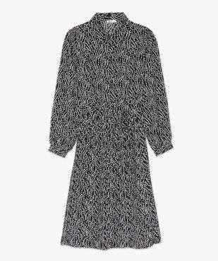 Robe femme midi imprimée à manches longues et col chemise  vue4 - GEMO(FEMME PAP) - GEMO