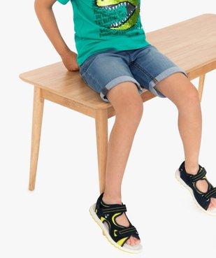 Bermuda garçon en jean avec revers cousus vue1 - GEMO (ENFANT) - GEMO