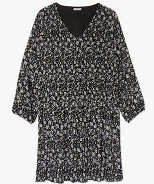 Robe femme plissée à fleurs et col V vue4 - GEMO (G TAILLE) - GEMO